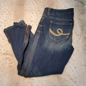 Seven7 Medium Wash Zippered Ankle Cropped Jeans